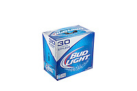 A pack of 30 296ml sleek cans of Bud Light beer is pictured over a pure white background.
