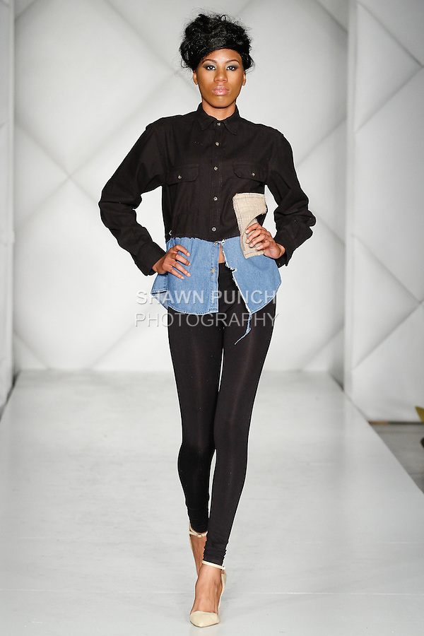 "Model walks runway in an outfit from the Royal Majesty Clothing ""Prince and the Pauper"" collection by Malcolm Cannon, during Fashion Week Brooklyn Fall Winter 2014, Day 1 at Industry City, on March 13, 2014."