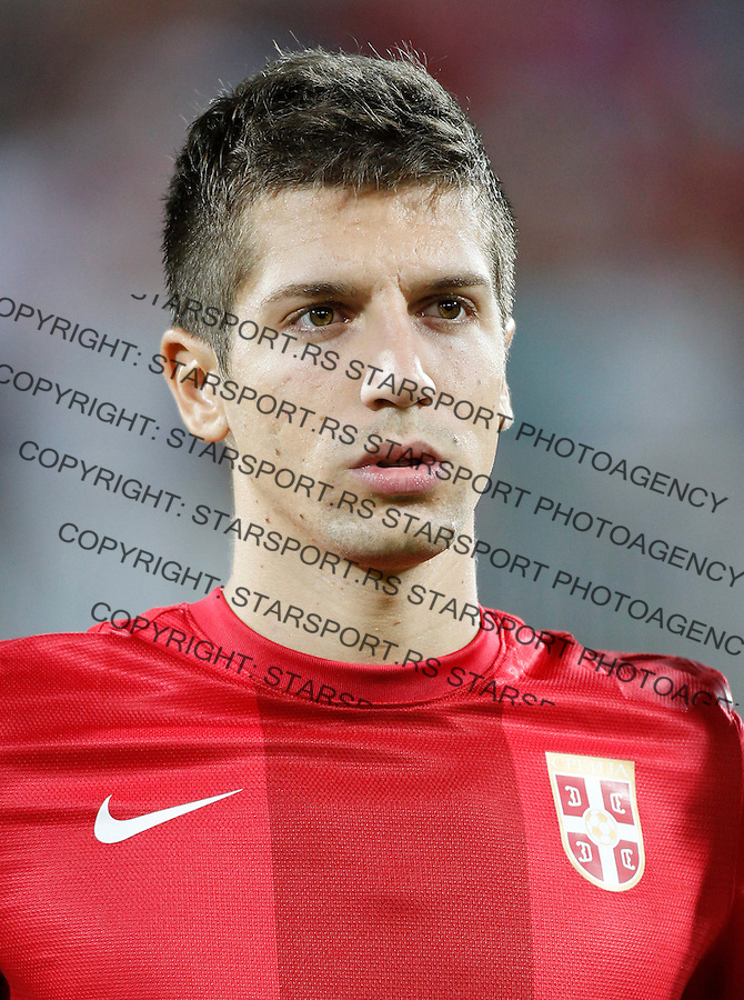 NOVI SAD, SERBIA - SEPTEMBER 11: Matija Nastasic of Serbia listen national anthem prior the FIFA 2014 World Cup Qualifier at stadium Karadjordje Park between Serbia and Wales on September 11, 2012 in Novi Sad, Serbia (Photo by Srdjan Stevanovic/Getty Images)