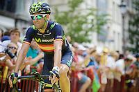 stage favourite Alejandro Valverde (ESP/Movistar) on his way to the start podium<br /> <br /> stage 3: Antwerpen (BEL) - Huy (BEL)<br /> 2015 Tour de France