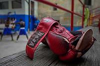 HAVANA, CUBA - JUNE 16: A detail of a boxing glove is seen at a boxing gymnasium in Old Havana, Habana Vieja on June 16, 2015 in Havana, Cuba. <br /> Daniel Berehulak for Panasonic/Lumix