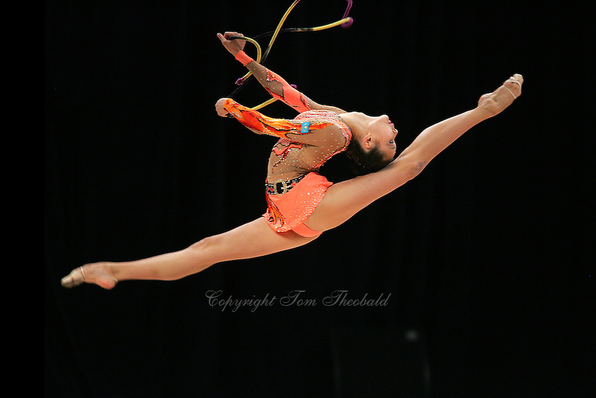 Aliya Yussupova of Kazakhstan (here split leaping with rope) performed in all four apparatus finals in rhythmic gymnastics at World Games from Duisburg, Germany on July 20-21, 2005.  Event finals in rhythmic gymnastics are only held at World Games. (Photo byTom Theobald)