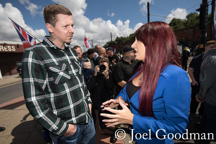 © Joel Goodman - 07973 332324 . 22/07/2017 . Rochdale , UK . PROFESSOR GREEN (Stephen Manderson) talks to JAYDA FRANSEN as part of a documentary programme , at the demonstration . Britain First hold a demonstration in Rochdale , opposed by anti-fascist groups . Britain First say they are highlighting concerns about child sexual exploitation in the town . Photo credit : Joel Goodman