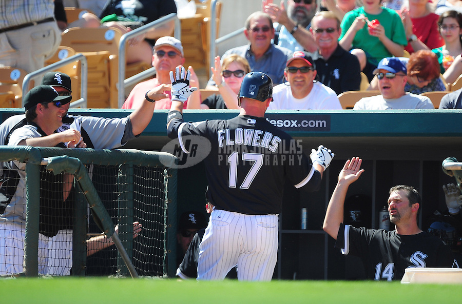 Mar. 14, 2012; Phoenix, AZ, USA; Chicago White Sox batter Tyler Flowers is congratulated by teammates after hitting a solo home run in the second inning against the Anaheim Angels at The Ballpark at Camelback Ranch. Mandatory Credit: Mark J. Rebilas-