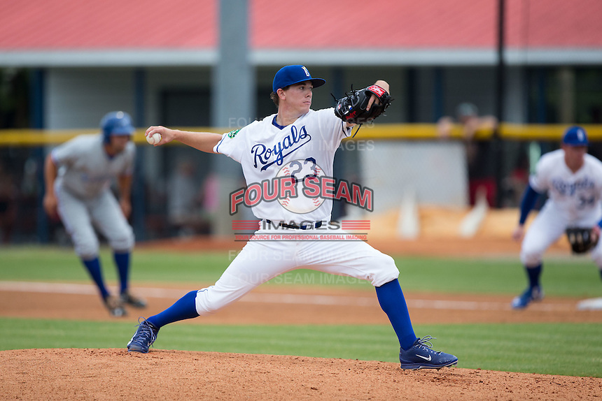 Burlington Royals starting pitcher Travis Eckert (23) in action against the Bluefield Blue Jays at Burlington Athletic Stadium on June 27, 2016 in Burlington, North Carolina.  The Royals defeated the Blue Jays 9-4.  (Brian Westerholt/Four Seam Images)