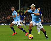 6th February 2019, Goodison Park, Liverpool, England; EPL Premier League Football, Everton versus Manchester City; Sergio Aguero of Manchester City runs with the ball at the Everton defence