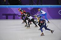 OLYMPIC GAMES: PYEONGCHANG: 10-02-2018, Gangneung Ice Arena, Short Track, Heats 1500m Men, Farell Treacy (GBR), Ward Petre (BEL), Hiroki Yokoyama (JPN), Shaolin Sandor Liu (HUN), Samuel Girard (CAN), Semen Elistratov (OAR), ©photo Martin de Jong