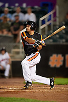 Aberdeen IronBirds center fielder Nick Horvath (44) follows through on a swing during a game against the Staten Island Yankees on August 23, 2018 at Leidos Field at Ripken Stadium in Aberdeen, Maryland.  Aberdeen defeated Staten Island 6-2.  (Mike Janes/Four Seam Images)