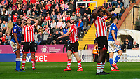 Lincoln City's Matt Rhead, left, Shay McCartan, centre, and John Akinde react after McCartan failed to convert a late chance<br /> <br /> Photographer Chris Vaughan/CameraSport<br /> <br /> The EFL Sky Bet League Two - Lincoln City v Macclesfield Town - Saturday 30th March 2019 - Sincil Bank - Lincoln<br /> <br /> World Copyright © 2019 CameraSport. All rights reserved. 43 Linden Ave. Countesthorpe. Leicester. England. LE8 5PG - Tel: +44 (0) 116 277 4147 - admin@camerasport.com - www.camerasport.com