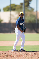 Milwaukee Brewers relief pitcher Wilfred Salaman (87) gets ready to deliver a pitch during an Instructional League game against the Los Angeles Dodgers at Maryvale Baseball Park on September 24, 2018 in Phoenix, Arizona. (Zachary Lucy/Four Seam Images)