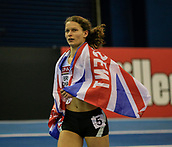 10th February 2019, Arena Birmingham, Birmingham, England; Spar British Athletics Indoor Championships; Zoey Clark after winning the goal medal in the women's 400m final during Day Two of the Spar Indoor Athletics Championships at Birmingham Arena