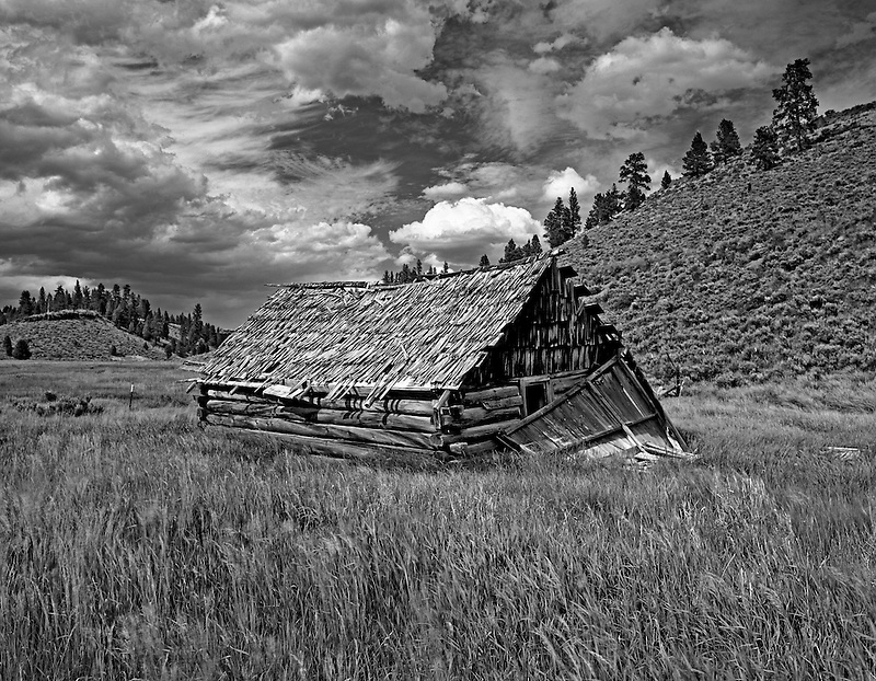 F00100M.tiff   Abandoned pioneer cabin in pasture. Near Burns, Oregon