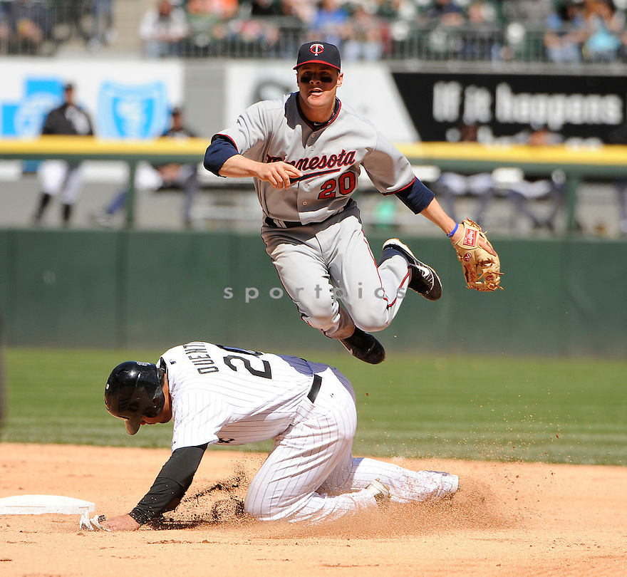 MATT TOLBERT, of the Minnesota Twins,  in action during the Twins game against the Chicago White Sox, on May 4, 2011 at  US Cellular field in Chicago, IL.  The Twins beat the White Sox 3-2.