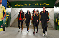 20180228 - LARNACA , CYPRUS :  Belgian players with Laura De Neve (left) ,  Nicky Van Den Abbeele , Jana Coryn and Heleen Jaques (r) pictured during a recognition of the pitch before women's soccer game between Spain and the Belgian Red Flames , on friday 2 March 2018 at the AEK Arena in Larnaca , Cyprus . This is the second  game in group B for  Belgium during the Cyprus Womens Cup , a prestigious women soccer tournament as a preparation on the World Cup 2019 qualification duels. PHOTO SPORTPIX.BE | DAVID CATRY