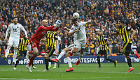 Watford's Heurelho Gomes punches clear from Wolverhampton Wanderers' Raul Jimenez<br /> <br /> Photographer Rob Newell/CameraSport<br /> <br /> Emirates FA Cup Semi-Final  - Watford v Wolverhampton Wanderers - Sunday 7th April 2019 - Wembley Stadium - London<br />  <br /> World Copyright © 2019 CameraSport. All rights reserved. 43 Linden Ave. Countesthorpe. Leicester. England. LE8 5PG - Tel: +44 (0) 116 277 4147 - admin@camerasport.com - www.camerasport.com