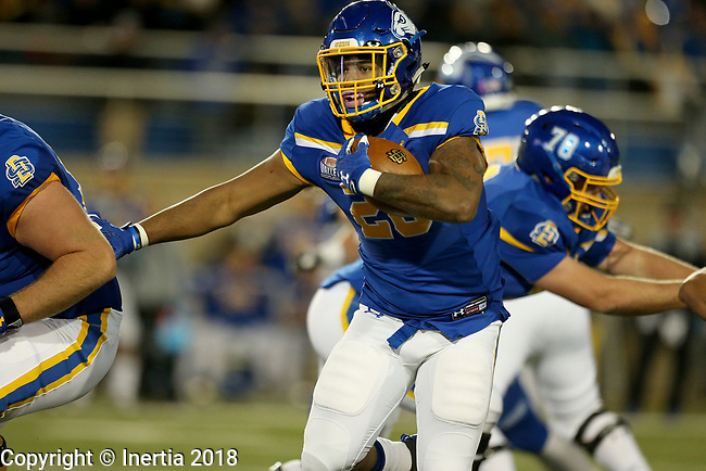 BROOKINGS, SD, OCTOBER 6: Mikey Daniel #26 from South Dakota State University scampers for yardage against Indiana State during their game Saturday night at Dana J. Dykhouse Stadium in Brookings. (Dave Eggen/Inertia)