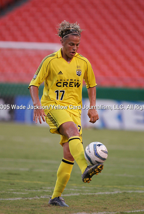 26 August 2005,  Danny Szetela of the Crew brings the ball down on his foot.  The MLS Kansas City Wizards were shut out at home by the Columbus Crew by a score of 0-1 during their regular season MLS match at Arrowhead Stadium, Kansas City, Missouri.  ..