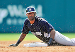 8 March 2011: New York Yankees' infielder Eduardo Nunez steals second base during a Spring Training game against the Atlanta Braves at Champion Park in Orlando, Florida. The Yankees edged out the Braves 5-4 in Grapefruit League action. Mandatory Credit: Ed Wolfstein Photo