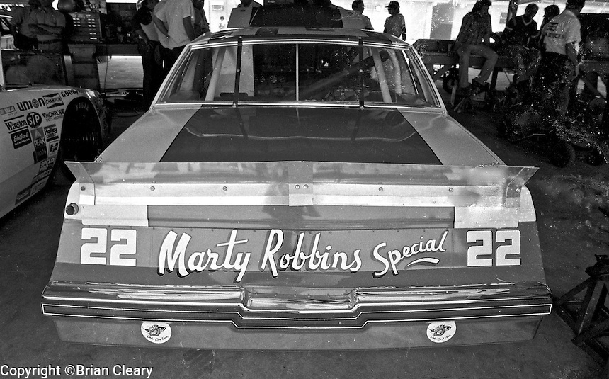 Country singer Marty Robbins's #22 Buick Regal sits in the grage before the Firecracker 400 Daytona International Speedway Daytona Beach FL July 1982.(Photo by Brian Cleary/www.bcpix.com)(Photo by Brian Cleary/www.bcpix.com)