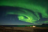 Northern Lights - Aurora Borealis shine in sky over isolated farm house, Flakstadøy, Lofoten Islands, Norway