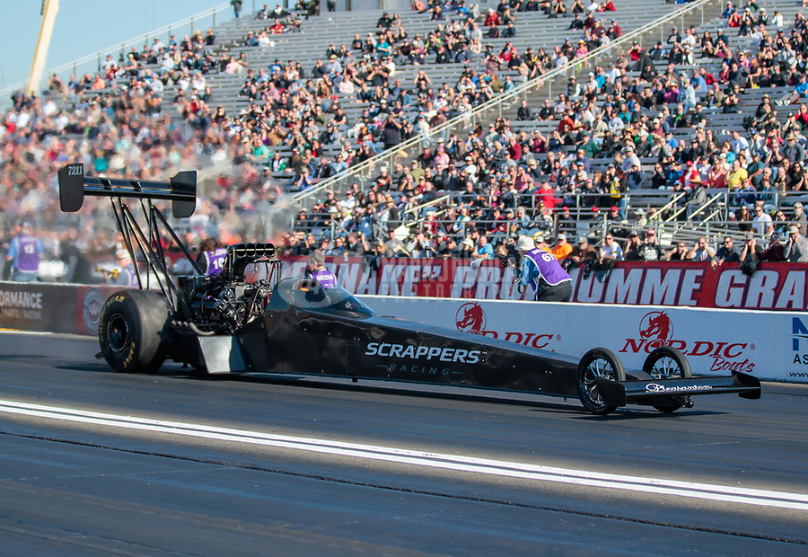 Feb 8, 2019; Pomona, CA, USA; NHRA top fuel driver Mike Salinas during qualifying for the Winternationals at Auto Club Raceway at Pomona. Mandatory Credit: Mark J. Rebilas-USA TODAY Sports