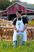 Head Cheesemaker Cody Tavares at Maui's Surfing Goat Dairy in Kula,, Upcountry Maui