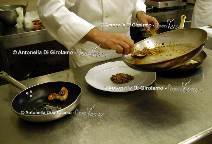 Preparazione dei piatti. Preparing of the dishes