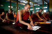 Monks who are students of U Wirathu, the controversial Buddhist nationalists monk and spiritual leader of the 969 Movement, study at the New Maesoeyin Monastery in Mandalay. U Wirathu is an abbot in the New Maesoeyin Monastery where he leads about 60 monks and has influence over more than 2,500 residing there. /Felix Features