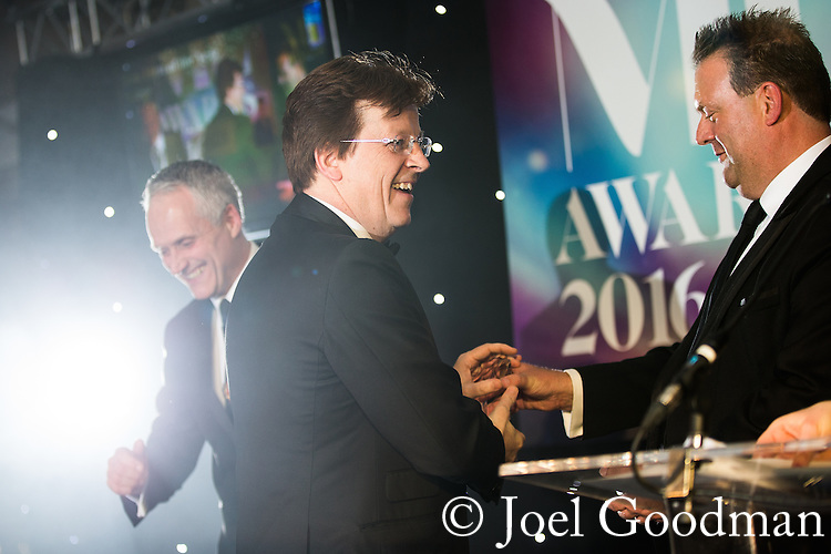 © Joel Goodman - 07973 332324 . 03/03/2016 . Manchester , UK . Michael Hardacre , president of Manchester Law Society , winner large law firm - Eversheds - Michael Clavell-Bate (centre) . The Manchester Legal Awards from the Midland Hotel . Photo credit : Joel Goodman