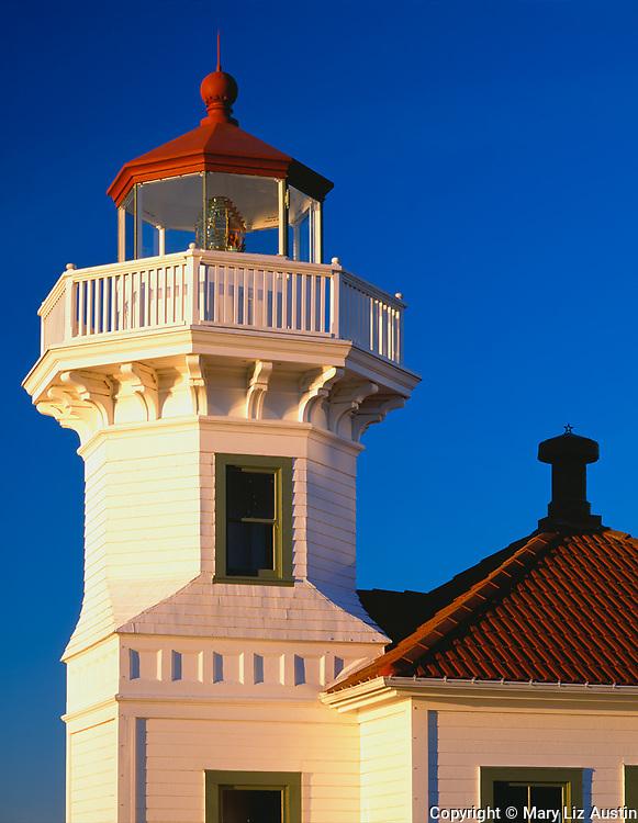 Snohomish County, WA<br /> Mukilteo Lighthouse octagonao tower (1908) on Elliott Point, Possession Sound at Mukilteo State Park