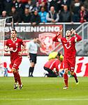 Nederland, Enschede, 4 november 2012.Eredivisie.Seizoen 2012-2013.FC Twente-Feyenoord .Luc Castaignos (r.) van FC Twente juicht nadat hij de 2-0 heeft gescoord. Links Wout Brama van FC Twente.
