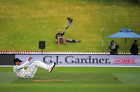 Jeet Ravel fields on day four of the international cricket test between the NZ Black Caps and the West Indies at the Hawkins Basin Reserve in Wellington, New Zealand on Monday, 4 December 2017. Photo: Dave Lintott / lintottphoto.co.nz