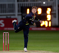 Joe Denly bowls for Kent during the Vitality Blast T20 game between Kent Spitfires and Somerset at the St Lawrence Ground, Canterbury, on Thur Aug 16, 2018