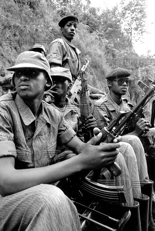 ©Crispin Hughes/Panos Pictures..Rwanda, Kigali. rebel fighters of the RPF (Rwandese Patriotic Front).