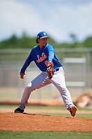 GCL Mets relief pitcher Malky Mena (87) delivers a pitch during a game against the GCL Cardinals on August 6, 2018 at Roger Dean Chevrolet Stadium in Jupiter, Florida.  GCL Cardinals defeated GCL Mets 6-3.  (Mike Janes/Four Seam Images)