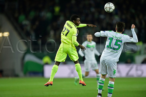 08.03.2016. Wolfsburg, Germany.  Simon Moses Daddy Ajala forward of KAA Gent jumps up to reach the ball during the Champions League Round of 16, second leg match between VfL Wolfsburg and KAA Gent at the Volkswagen Arena in Wolfsburg, Germany.