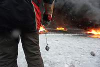 Rioters used a great variety of homemade rudimentary weapon to fight against police trucks during the   protest against new draconian law to ban the right to  protest across the country.  Kiev. Ukraine