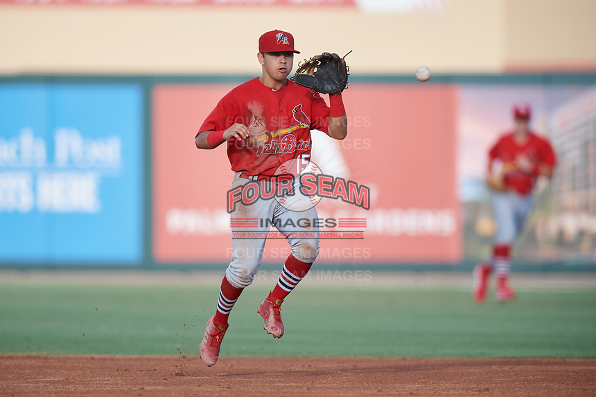 Palm Beach Cardinals second baseman Irving Lopez (15) fields a ball during a game against the Jupiter Hammerheads on August 4, 2018 at Roger Dean Chevrolet Stadium in Jupiter, Florida.  Palm Beach defeated Jupiter 7-6.  (Mike Janes/Four Seam Images)