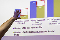 NWA Democrat-Gazette/CHARLIE KAIJO Susan Hartmann, program director at Enterprise Community Partners, points to a stat showing a gap between the number of available renters to the number of available and affordable units in Springdale during a community meeting, Thursday, June 7, 2018 at the Shiloh Museum in Springdale. <br /><br />The University of Arkansas College of Business, Northwest Arkansas Regional Planning Commission, Walton Family Foundation and a nonprofit called Enterprise Community Partners are taking stock of the housing and housing affordability situation in this area. They&acirc;&euro;&trade;ll be putting together a regional plan to try to make sure there&acirc;&euro;&trade;s enough housing affordable to everyone in the coming years. They held public forums in the big four cities to get residents&acirc;&euro;&trade; thoughts on where housing is lacking and what the regional plan will need to keep in mind.