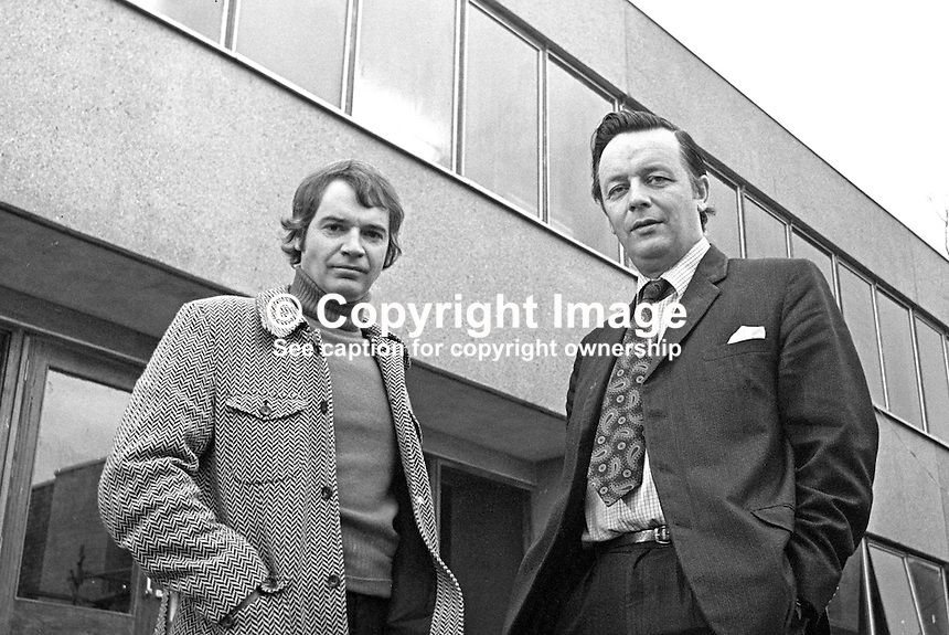 Don Anderson, N Ireland Officer,  UK Independent Broadcasting Authority, left, pictured with David Hannon, managing director, Downtown Radio, Newtownard, photographed 23rd December 1975 in front of the new radio station's premises which were nearing completion. The station offically started broadcasting on 16th March 1976. 197512230788b.<br /> <br /> Copyright Image from Victor Patterson, 54 Dorchester Park, Belfast, UK, BT9 6RJ<br /> <br /> t1: +44 28 9066 1296 (from Rep of Ireland 048 9066 1296)<br /> t2: +44 28 9002 2446 (from Rep of Ireland 048 9002 2446)<br /> m: +44 7802 353836<br /> <br /> e1: victorpatterson@me.com<br /> e2: victorpatterson@gmail.com<br /> <br /> The use of my copyright images is subject to my Terms &amp; Conditions.<br /> <br /> It is IMPORTANT that you familiarise yourself with them. They are available on my website at www.victorpatterson.com.<br /> <br /> None of my copyright images may be used on a website unless they are visibly watermarked, i.e. &copy; Victor Patterson within the body of the visible image. Metadata denoting my copyright must NOT be deleted. <br /> <br /> Web use (maximum size - 300 kb) is extra at currently recommended NUJ rates.