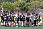 Santa Barbara, CA 02/18/12 -  The Collorado team during a time out at the 2012 Santa Barbara Shootout.  Colorado defeated Cal Poly SLO 8-7.