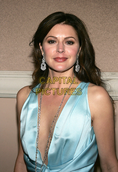 JANE LEEVES.The WB Network's 2006 All Star Party  at Ritz Carlton Huntington Hotel. .January 16th, 2006.Photo: William Scott/AdMedia/Capital Pictures.Ref: WS/ADM.headshot portrait plunging neckline silver dangling earrings necklace.www.capitalpictures.com.sales@capitalpictures.com.© Capital Pictures.