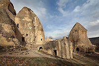 Aziz Stephanos Church, part of the Keslik Monastery, 7th - 13th century, consisting of 14 rock-hewn churches, kitchens and hermits caves, in the Soganli Valley in Goreme, in Nevsehir province, Cappadocia, Central Anatolia, Turkey. The churches in Goreme are carved from the soft volcanic tuff created by ash from volcanic eruptions millions of years ago. Early christians came here to flee persecution by the Romans and others settled here under the influence of early saints. This area forms part of the Goreme National Park and the Rock Sites of Cappadocia UNESCO World Heritage Site. Picture by Manuel Cohen