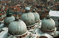 Venice:  Basilica San Marco--roof from Campanile.  Photo '83.