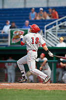 Auburn Doubledays center fielder Jacob Rhinesmith (18) follows through on a swing during a game against the Batavia Muckdogs on September 1, 2018 at Dwyer Stadium in Batavia, New York.  Auburn defeated Batavia 10-5.  (Mike Janes/Four Seam Images)