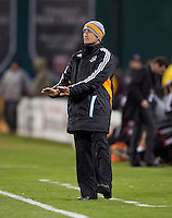 Houston Dynamo head coach Dominic Kinnear yells to his team to calm down during the game at RFK Stadium in Washington,DC. D.C. United tied the Houston Dynamo, 1-1.  With the tie, Houston won the Eastern Conference and advanced to the MLS Cup.