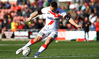 PICTURE BY ALEX WHITEHEAD/SWPIX.COM - Rugby League - Autumn International Series - Wales vs England - Glyndwr University Racecourse Stadium, Wrexham, Wales - 27/10/12 - England's Kevin Sinfield kicks for goal.