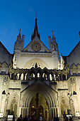 The Victorian Gothic frontage of the Royal Courts of Justice in the Strand, London