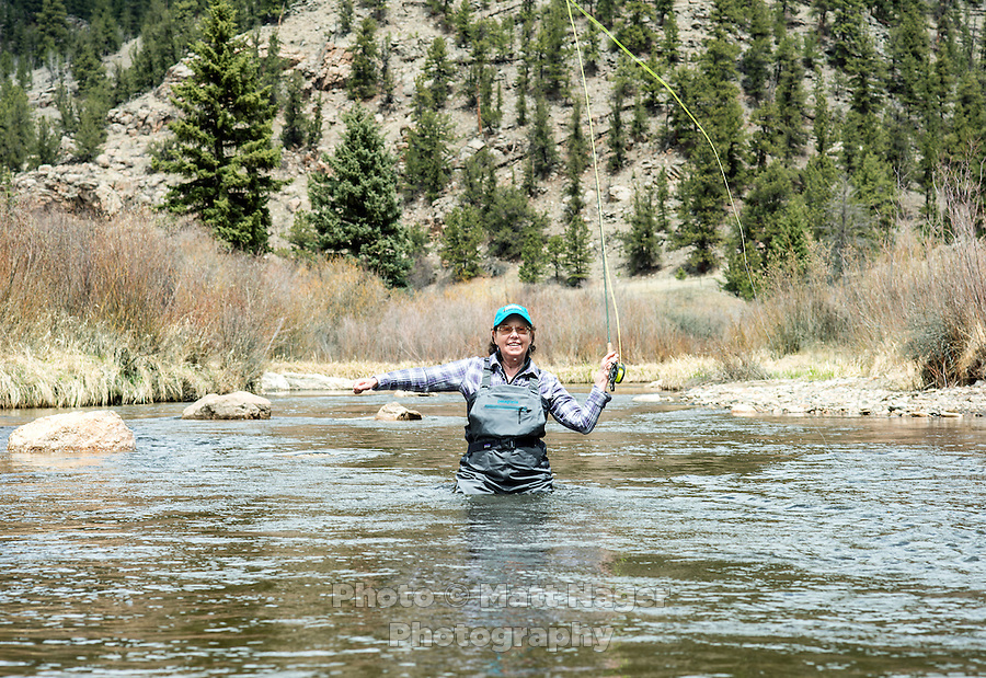 Lois Friedland casts while fly fishing near Colorado Springs, Colorado, Monday, May 4, 2015. <br /> <br /> Photo by Matt Nager