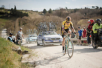 Wout Van Aert (BEL/Jumbo-Visma) attacking the last gravel section in 3rd position & thus repeating his brakethrough performance of 1 year earlier<br /> <br /> 13th Strade Bianche 2019 (1.UWT)<br /> One day race from Siena to Siena (184km)<br /> <br /> ©kramon